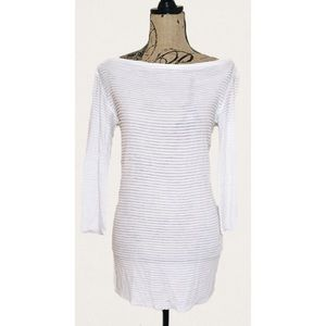 L'AGENCE Tops - L'AGENCE White Boatneck Tiered Sheer Blouse Tunic