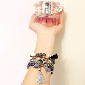 Hematite/gold bead bracelet