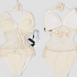 Lisa Maree Bathing Suit Animal Print Bikini Cut Out Swimsuit @ Anthropologie NWT