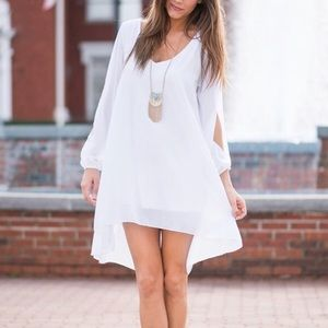 Choies White Slit Sleeve Chiffon Dress