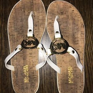 MICHAEL Michael Kors Shoes - Michael Kors White Cork Flip Flops
