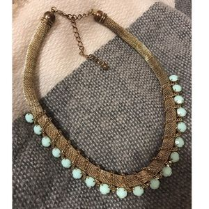 Gold & teal thick roll chain necklace w/ beadwork.