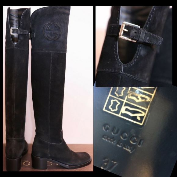 fbff9b995361 Gucci Shoes - GUCCI Soho Over the knee Black Suede Boots 37