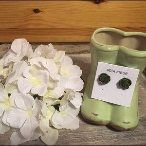 Adia Kibur Jewelry - Adia Kibur Olive Green Resin Flower Earrings