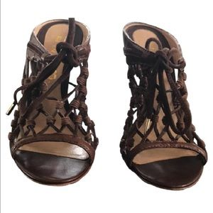 L.A.M.B. Shoes - L.A.M.B Caged Woven Leather Heel