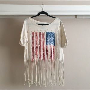 UNIF The Holy America fringe shirt