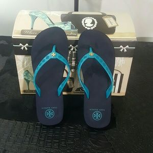Tory Burch Shoes - Authentic tory Burch turquoise flip flops