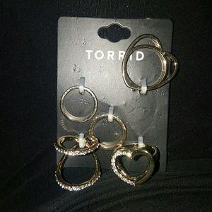 Gold Multi Finger Ring Set Sz 10/11