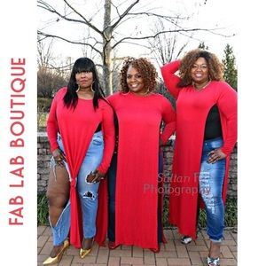 Long Sleeve Red Cardigan Plus Size