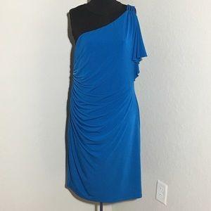 Max & Cleo Dresses & Skirts - Max & Cleo Blue 1 Shoulder Cold Shoulder Dress XL