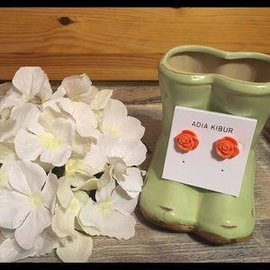 Adia Kibur Jewelry - Adia Kibur Orange Resin Flower Earrings