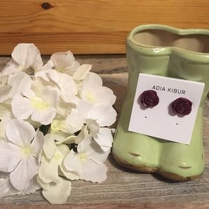 Adia Kibur Jewelry - Adia Kibur Plum Resin Flower Earrings