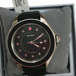 Michele  Accessories - NWT Michele Topaz sliver and black ladies watch