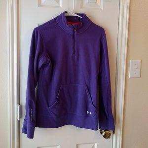 UA fleece purple half zip sweater