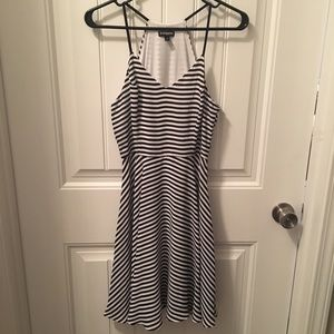 Express Black and White Striped Dress 4