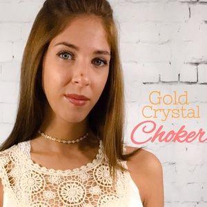 Threads & Trends Jewelry - Gold Crystal Gem Choker