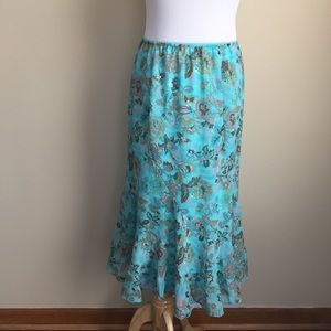 Cato Dresses & Skirts - Cato turquoise floral flouncy skirt sz M