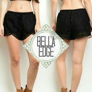 Bella Edge Pants - 🔃RESTOCKED Black crochet lace shorts