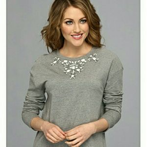 Two by Vince Camuto Tops - ⓈⒶⓁⒺ TWO by VC Soft Jewel Necklace Sweatshirt