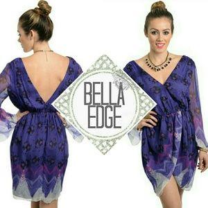 Bella Edge Dresses & Skirts - Purple multiprint vneck low back tulip hem dress