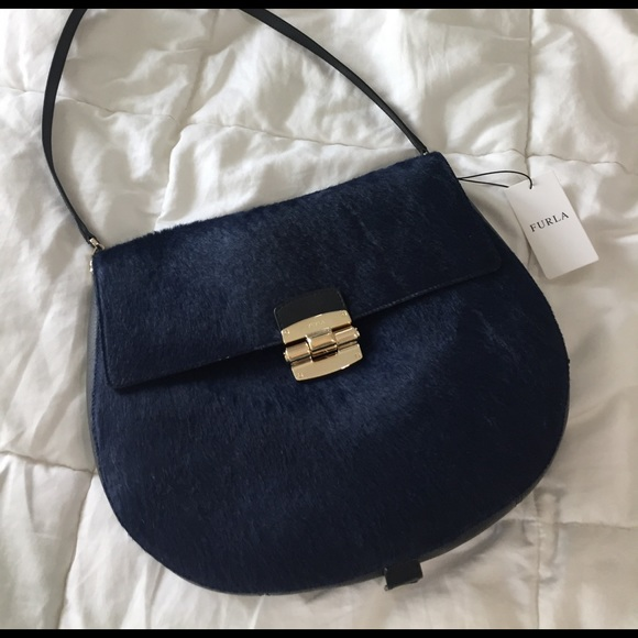 Furla Bags - Furla Black + Navy Calf Hair Club Medium Crossbody