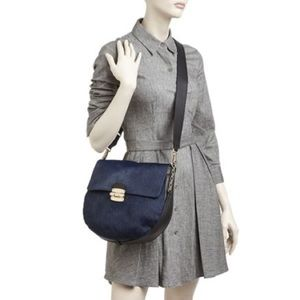 Furla Black + Navy Calf Hair Club Medium Crossbody