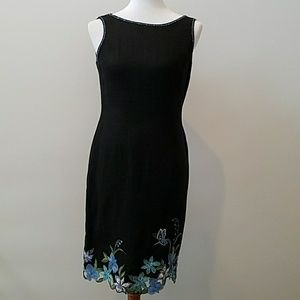 Talbots linen sheath dress: embroidery, beadwork.