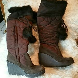 Report Shoes - 🎉Report Wedge Winter Boots Fur Collar & Pompoms
