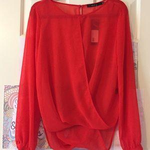Orange/Red Draped Blouse (NWT) (M)