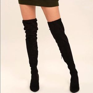 Anita Shoes - Over the Knee Black Suede Boots