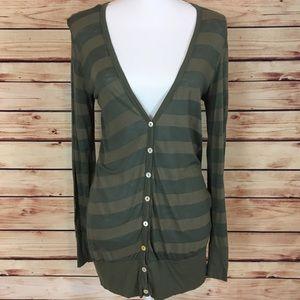 Splendid Sweaters - Splendid Striped Button Down Cardigan V Neck Green