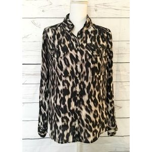C&C California Tops - C&C California Leopard Silk Button Down Blouse