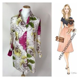 Kenar Tops - Beautiful Kenar Floral Button Down Tunic Size 10