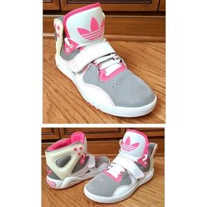 Adidas Shoes - 🔥Adidas High Top leather gray pink sneakers