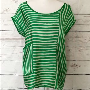 Zara Basic Green Striped High Low Blouse