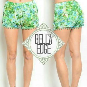 Bella Edge Pants - Blue green floral pom pom shorts