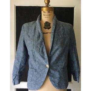 Gibson Jackets & Blazers - Gibson Ruched Sleeve Linen Blend Blazer M