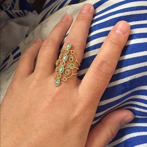 Swarovski Jewelry - 💯 Auth Azore Blue Swarovski Crystal Filigree Ring