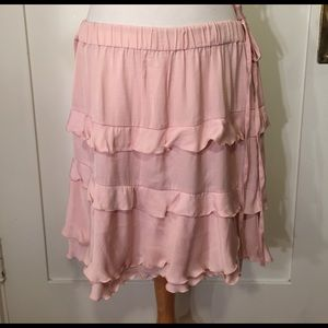 who What Wear Dresses & Skirts - Who What Wear soft pink ruffle skirt cinched waist