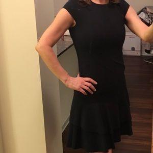 Akris Dresses & Skirts - AKRIS PUNTO Navy Mini Cap Sleeve Pleated Hem Dress