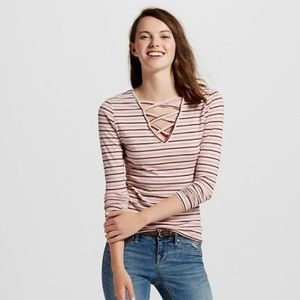 Mossimo Supply Co. Tops - NWOT pink striped lace up tee size M