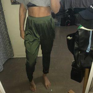 Necessary Clothing Pants - Green satin pants