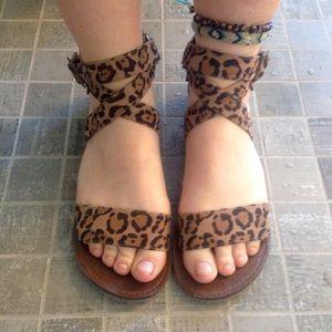 Leopard Print Cognac Gladiator Strappy Flat Sandal