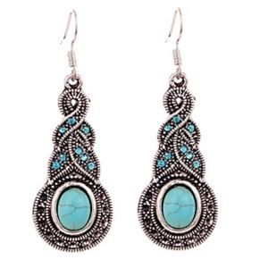 Curvy Couture Jewelry - Turquoise And Silver Crystal Earrings NWT