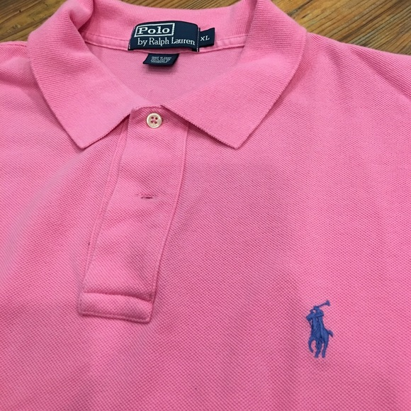 Clothing, Shoes, Accessories Mens Ralph Lauren Pink And Blue Striped Polo Shirt Size L 100% Cotton