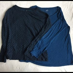 lot of 2 blue LOFT cheetah print tops size L
