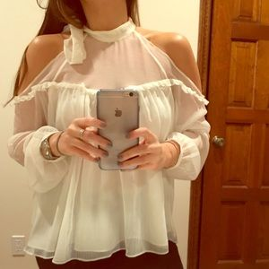 Zara white cold shoulder blouse with choker bow