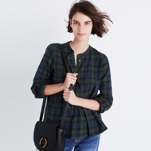 Madewell market popover shirt in dark plaid