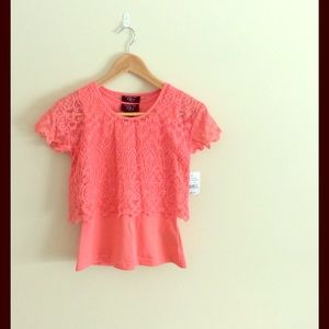 It's Our Time Other - Coral Lace T-shirt