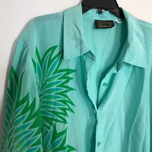 Bob Mackie wearable art Green palm silk blouse